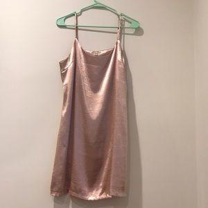 metallic baby pink tank top dress